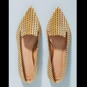 Anthropologie gold velvet loafers